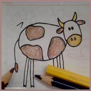 Vybarvování krávy z kalendáře a její příprava na nalepení do leporela na farmu - adventní Nesladkář farma