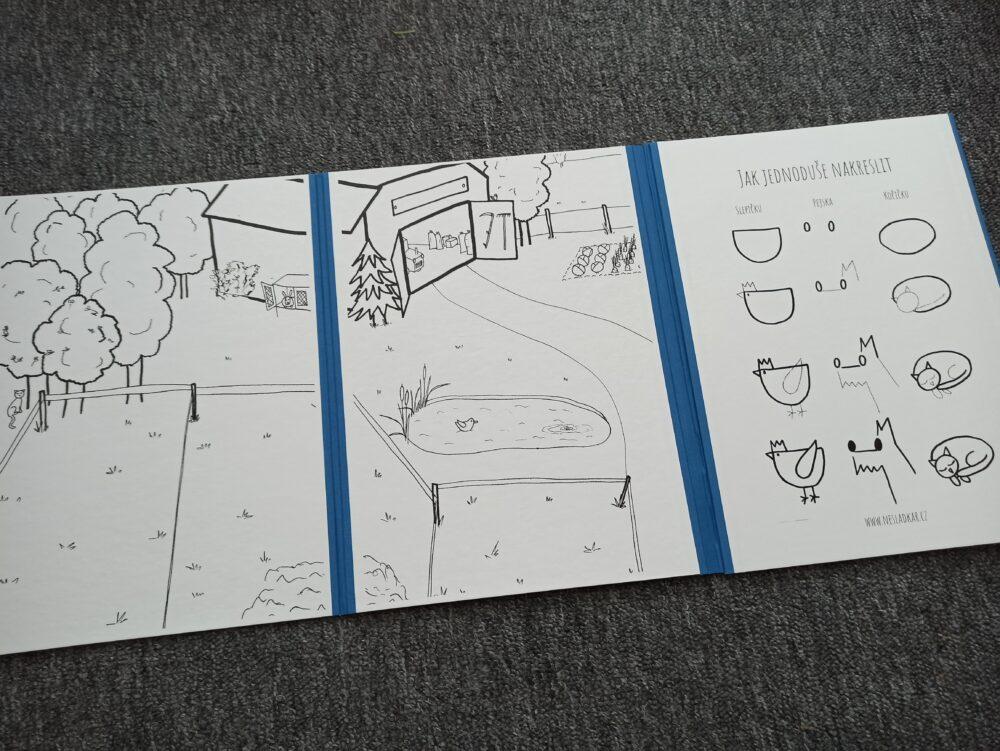 Ukázka modrého leporela k nesladkáři farma