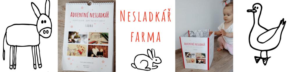 uvodní fotka produktu nesladkář farma - obsahuje ukázku osla, králíka a husy a fotky kalendáře a leporela
