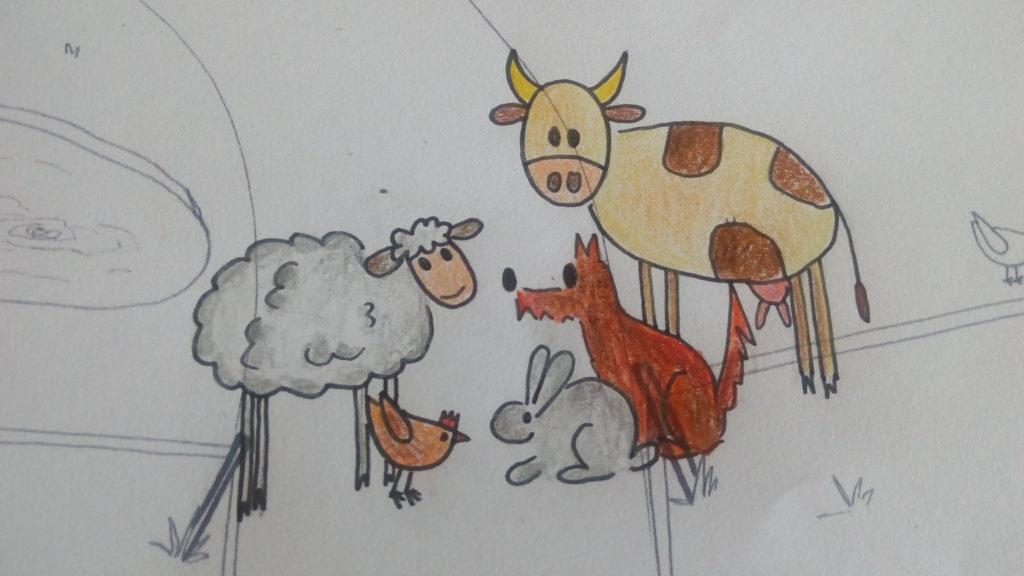Kreslený obrázek z Nesladkáře farma ovce, krávy, psa, králíka a slepice. Obrázek ke článku, proč farma?