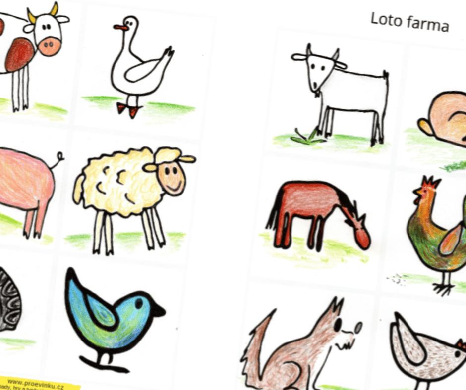 Loto zvířátka z farmy nesladkář -kráva, husa, prase, ovce, ptáček, koza, králík, kůň, kohout, slepice a pes