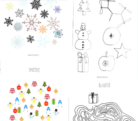 vánoční pracovní sešit plný zábavných aktivit pro děti - ukázka aktivit: najdi dvě stejné vločky; dokresli obrázek; spočítej, kolik čeho je a bludiště